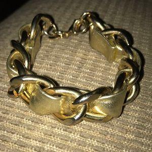 Vintage Express Goldtone Bracelet Leather/Chain ❤️
